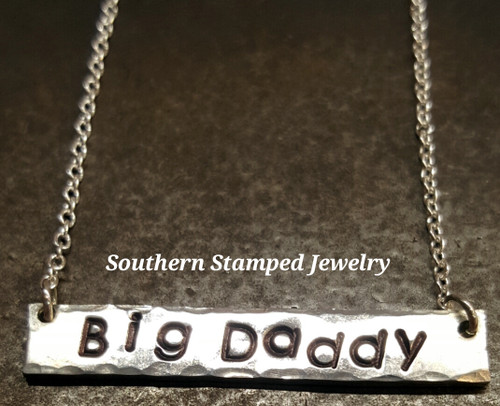 Double Sided Pewter Bar Necklace