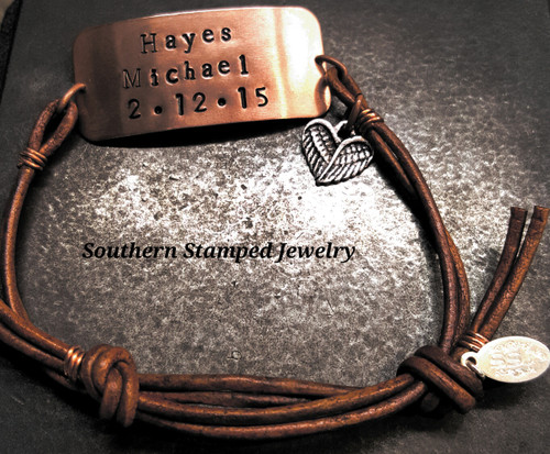Copper Wide Bar And Brown Leather Adjustable Bracelet w/ 1 Charm
