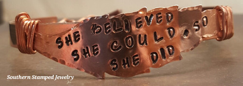 She Believed She Could Copper Wire Wrapped Cuff Bracelet
