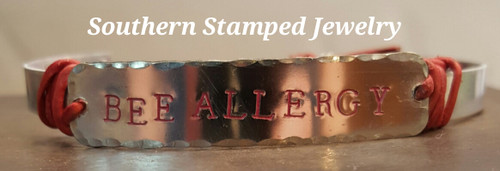 Medical Alert Red Leather And Silver Cuff Bracelet w/ Red Lettering