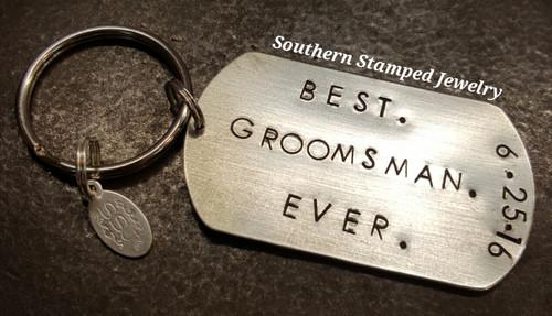 Best Groomsman Ever Silver Dog Tag Key Chain