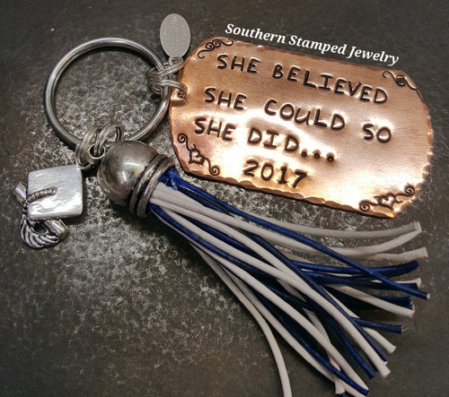 She Believed She Could Copper Dog Tag Key Chain w/ Leather Tassel 1