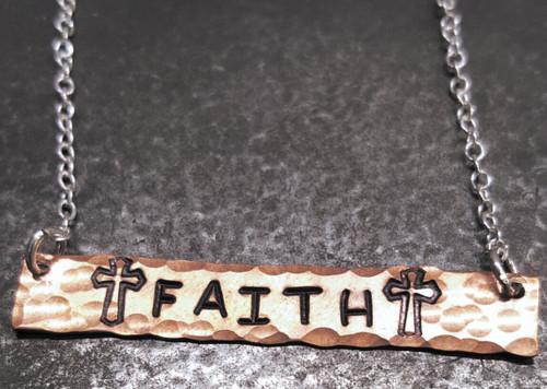 Faith Copper Bar Necklace