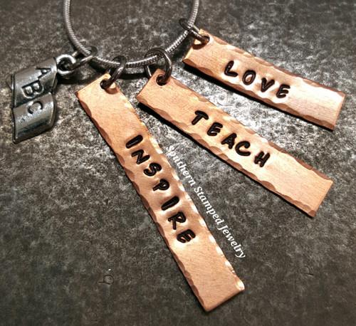 Love, Teach, Inspire Copper Bar Necklace