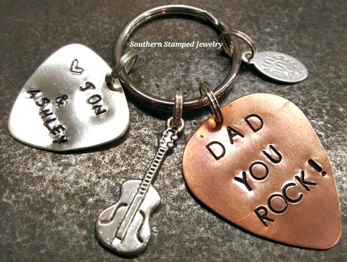 Dad You Rock Copper Guitar Pick Key Chain