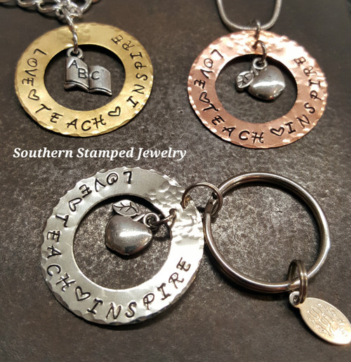 Love, Teach, Inspire Washer Key Chain, Necklace, And Bracelet