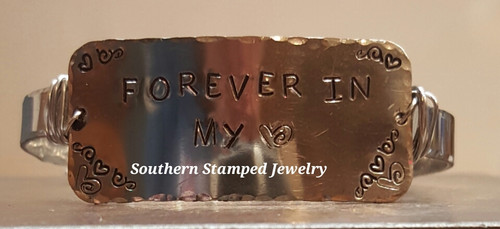 Forever In My Heart Silver Rectangle Wire Wrapped Pewter Cuff Bracelet