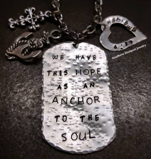 We Have This Hope Silver Dog Tag w/ Silver Open Heart Rear View Mirror Charm