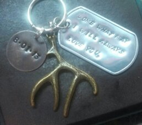 Silver Dog Tag w/ Natural Brass Circle And Large Brass Deer Antler Key Chain