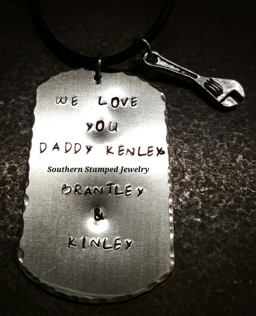 Silver Dog Tag Necklace w/ 1 Charm On A Black Leather Cord