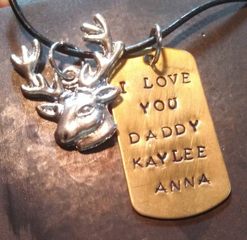 Brass Dog Tag w/ 1 Charm Necklace On A Black Leather Cord