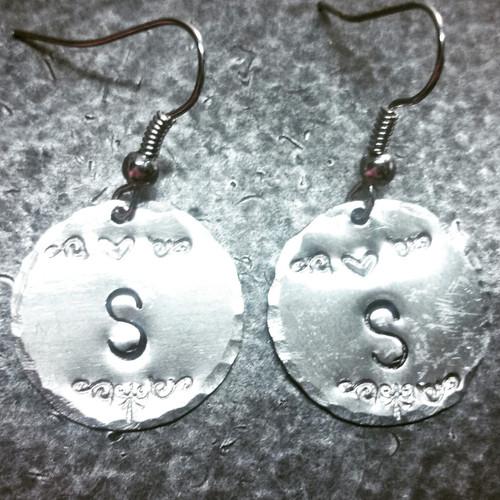 Silver Circle Initial Earrings