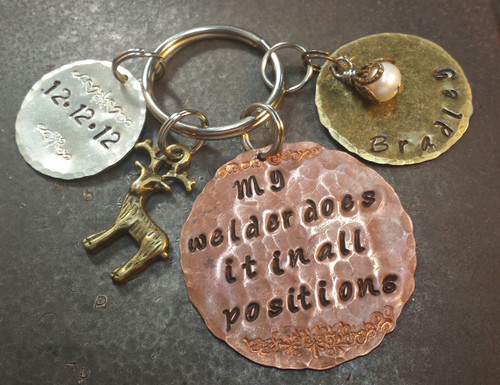Copper Circle w/ Silver Circle and Natural Brass Circle Key Chain