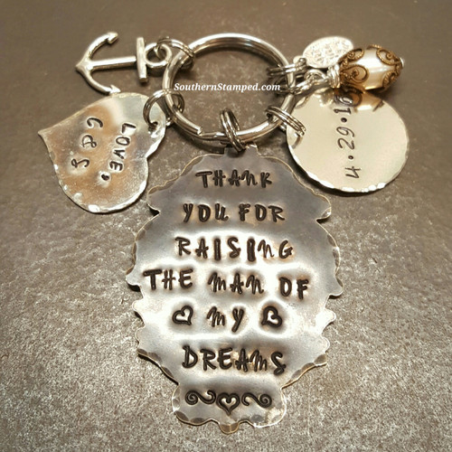 Thank You For Raising The Man Ornate Natural Brass Oval Key Chain