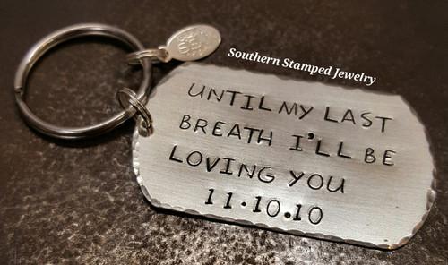 silver dog tag key chain