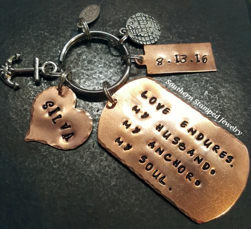 Copper Dog Tag w/ Copper Solid Heart And Copper Tag Key Chain