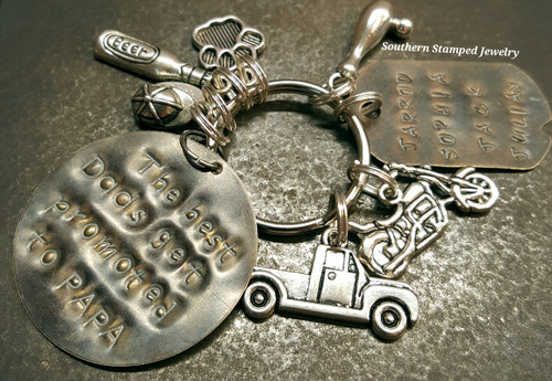 The Best Dads Get Promoted Natural Brass Circle w/ Natural Brass Dog Tag Key Chain