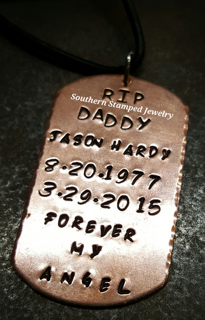 Copper Dog Tag Necklace w/ Black Leather Cord