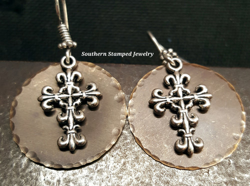 Natural Brass Circle And Cross Earrings