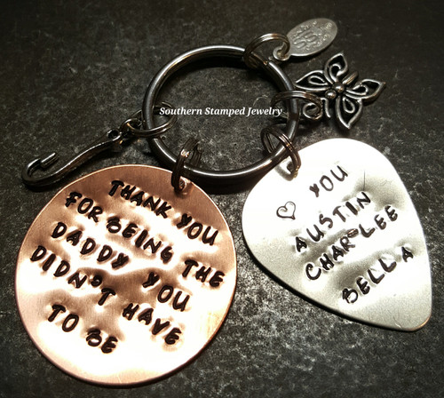 Thank You For Being The Dad Copper Circle w/ Silver Guitar Pick Key Chain