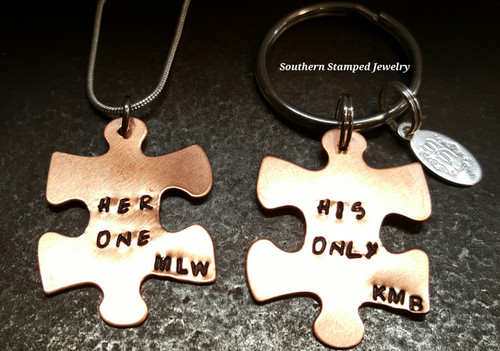 Her One His Only Copper Puzzle Piece Necklace And Key Chain Set