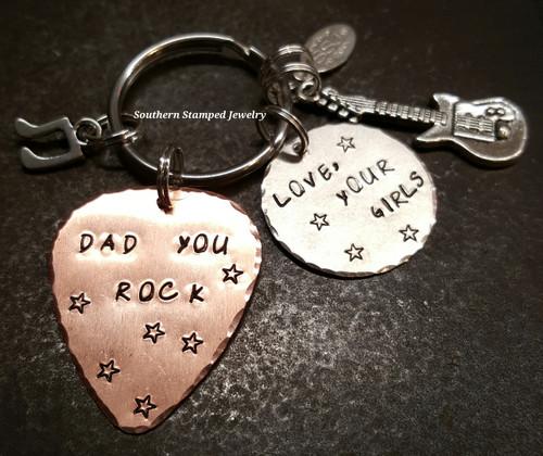 Dad You Rock Copper Guitar Pick w/ Silver Circle Key Chain