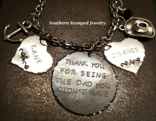 Thank You For Being The Dad Black Circle w/ 2 Solid Silver Hearts Rear View Mirror Charm
