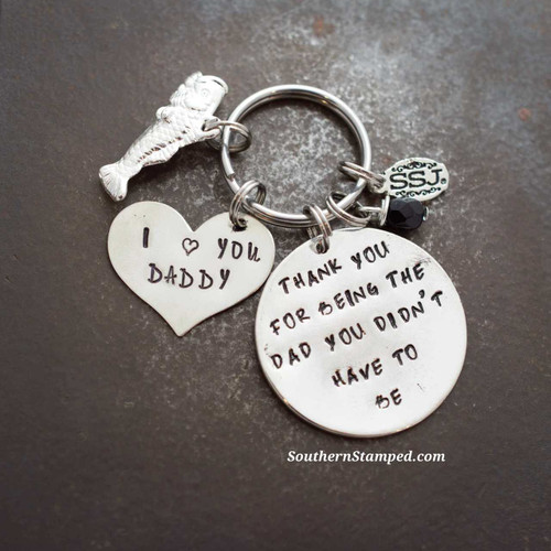 thank you for being the dad you didn't have to be silver circle with silver heart one charm and birthstone bead
