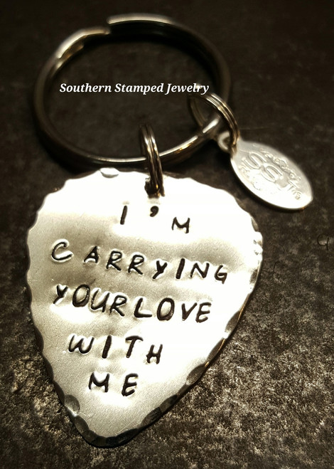 I'm Carrying Your Love With Me Silver Guitar Pick Key Chain
