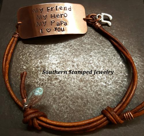 Copper Rectangle On Brown Leather Adjustable Bracelet