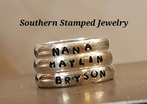3 sterling silver hand stamped bands