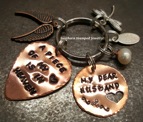 A Piece Of My Heart Copper Guitar Pick w/ Copper Circle Cut Out Heart Key Chain