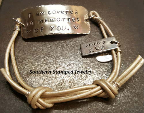 Silver Rectangle w/ Stainless Steel Tag And Pearl Leather Adjustable Bracelet