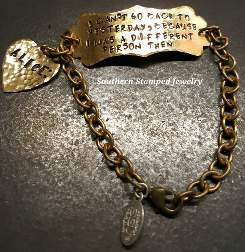 Brass Long Plaque w/ Solid Brass Heart And Brass Bracelet