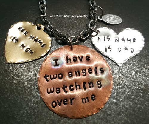 I Have Two Angels Copper Circle w/ Brass And Silver Solid Heart Rear View Mirror Charm