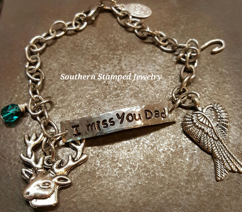 Pewter Bar On A Stainless Steel Bracelet w/ Charms (hypoallergenic)