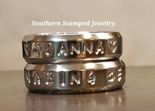 Two Stainless Steel Stamped Rings