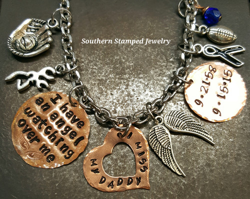 I Have An Angel Copper Circle w/ Large Copper Open Heart And Small Copper Circle Rear View Mirror Charm