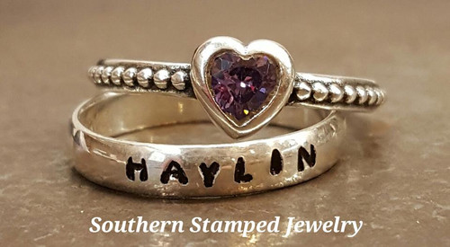1 Sterling Stackable Ring and 1 Sterling Birth Stone Ring