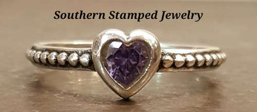 February Sterling  Fire Polished Birth Stone Ring