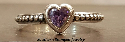 June Sterling  Fire Polished Birth Stone Ring