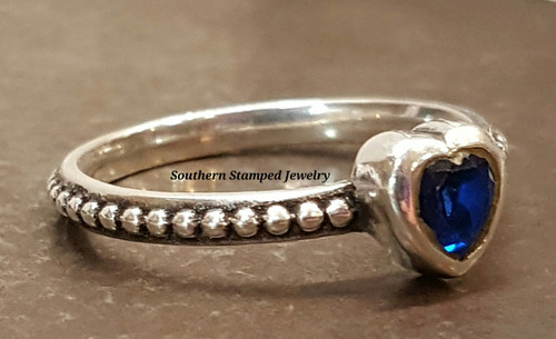 September Sterling Fire Polished Birth Stone Ring