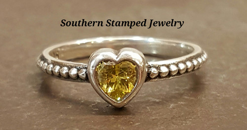 November Sterling Fire Polished Birth Stone Ring