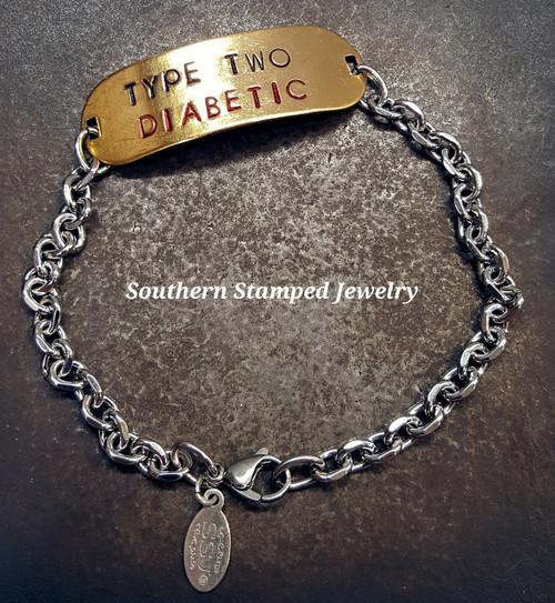 Brass Rounded Bar w/ Stainless Steel Medical Alert Bracelet