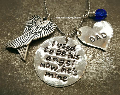 I Used To Be His Angel Sterling Silver Circle w/ Sterling Silver Solid Heart, Sterling Silver Angel Wing Charm, And Birth Stone Bead
