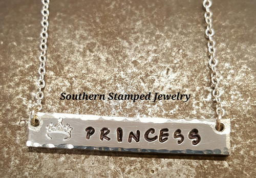 Princess Pewter Bar Necklace