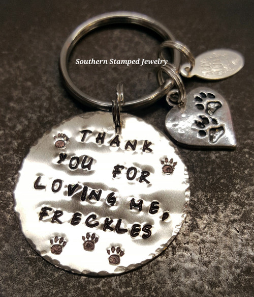 Thank You For Loving Me Silver Circle w/ Paw Heart