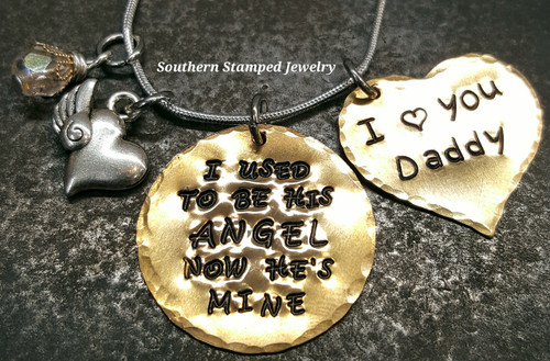 I Used To Be His Angel Brass Circle w/ Solid Brass Heart
