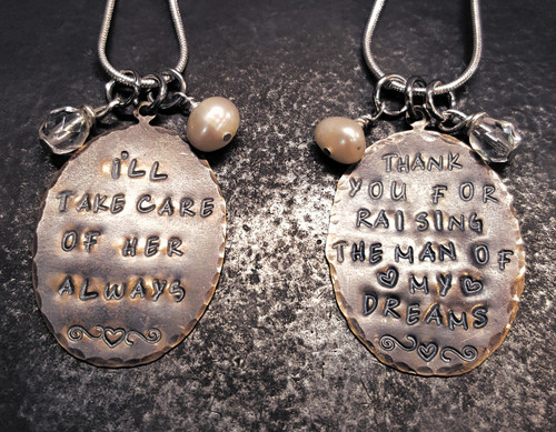 """2 """"Thank you"""" Mother In Law Natural Brass Oval Necklaces"""