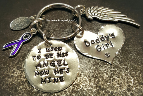 I Used To Be Silver Circle w/ Silver Solid Heart Key Chain